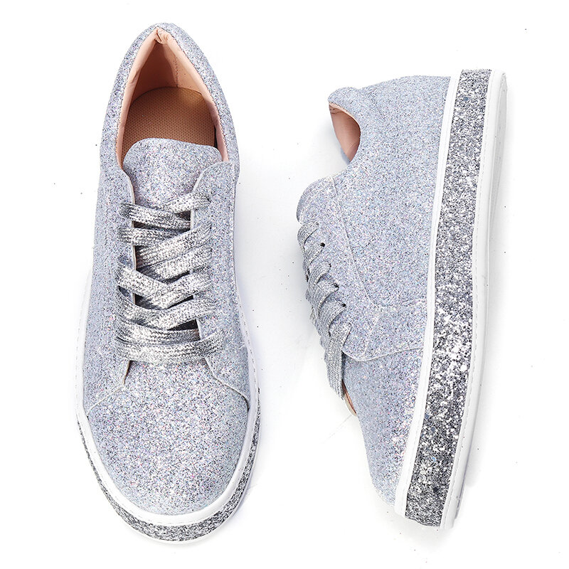 Femmes Printemps Sequin Glitter Bling Sneakers Casual Lace Up Flats Platform Chaussures - 1