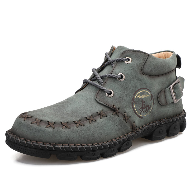 Synthetic Leather Warm Slip Resistant Ankle Boots - 6