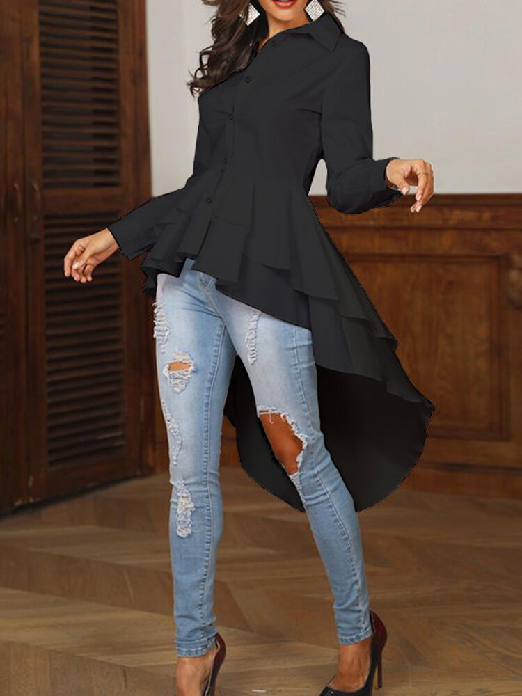 Women Floral Embroidery V-neck 3/4 Sleeve Blouse - 4