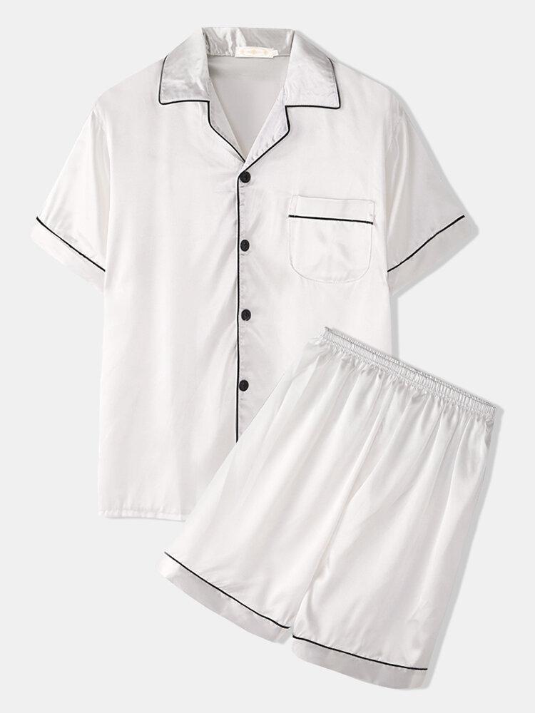 Men Pajama Set Metasequoia Print Revere Collar Elastic Waist Loose Sleepwear - 5