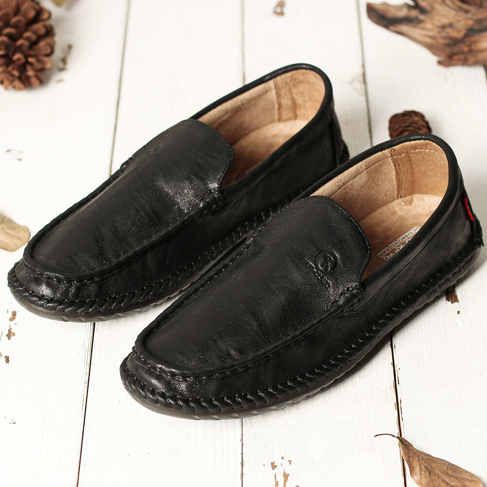 Men Pure Color Slip On Casual Soft Business Leather Oxfords - 7
