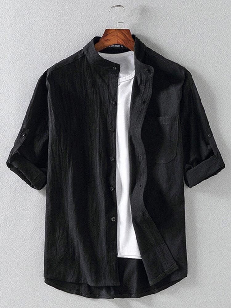 Banggood Design Mens Corduroy Patchwork Colorblock Lapel Curved Hem Shirts With Pocket - 4