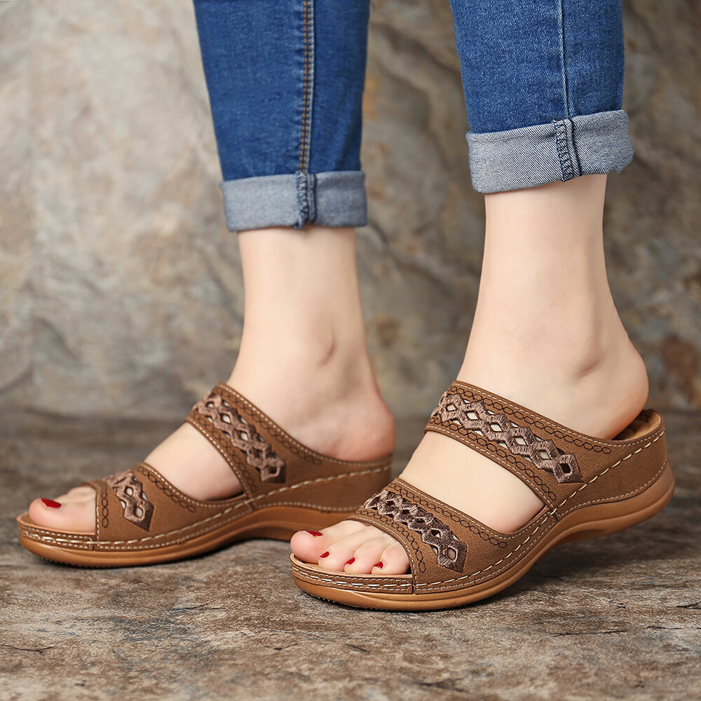 Women Bohemia Toe Ring Slip On Casual Summer Flat Sandals - 8