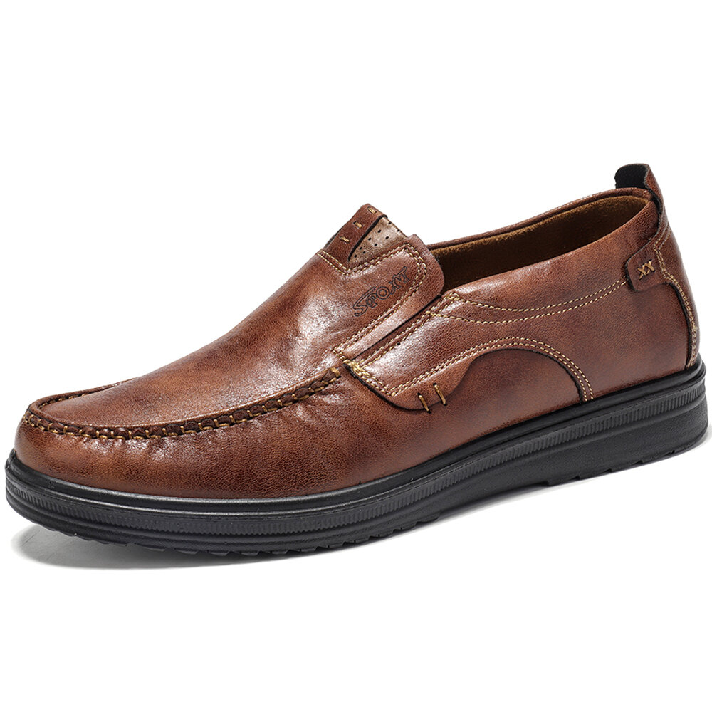 Men Pure Color Slip On Casual Soft Business Leather Oxfords - 1