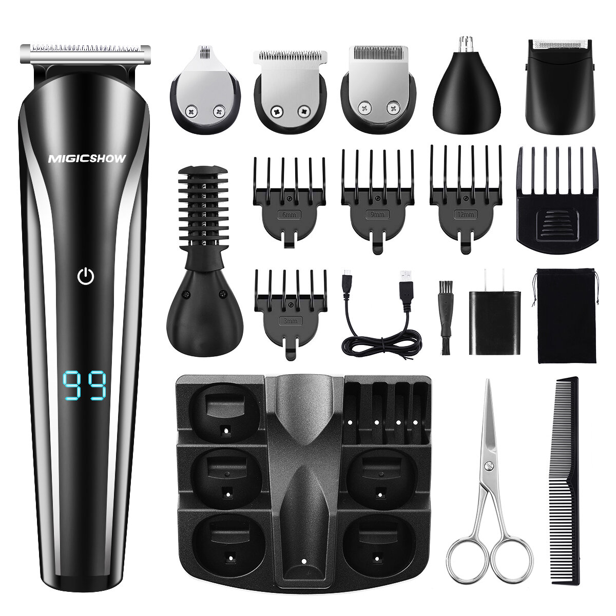 Y.F.M® Rechargeable Men Electric Hair Clipper Trimmer Beard Shaver 110-240V Haircut Ceramic Blade - 1