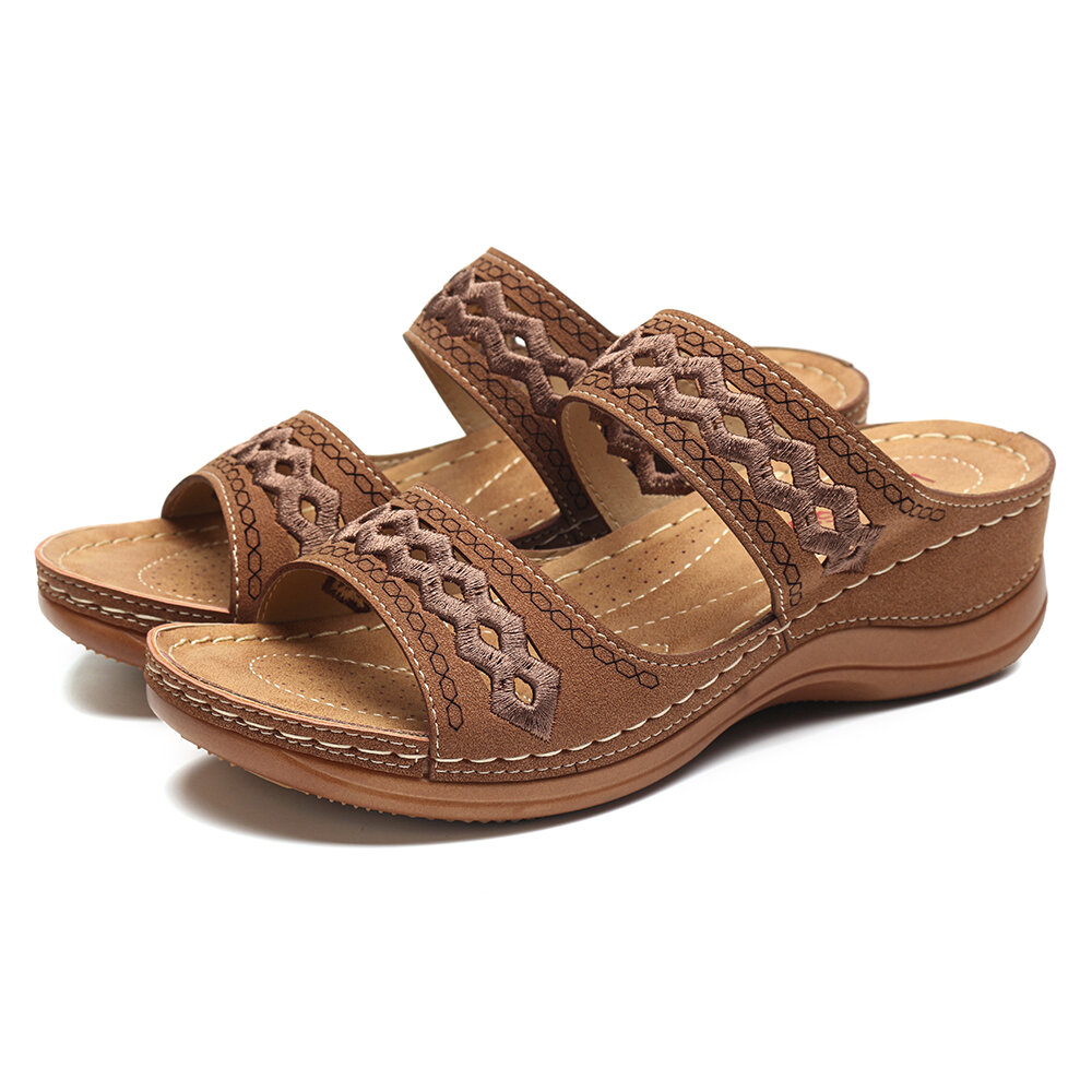 Large Size Peep Toe Weaving Platform Sandals For Women - 4
