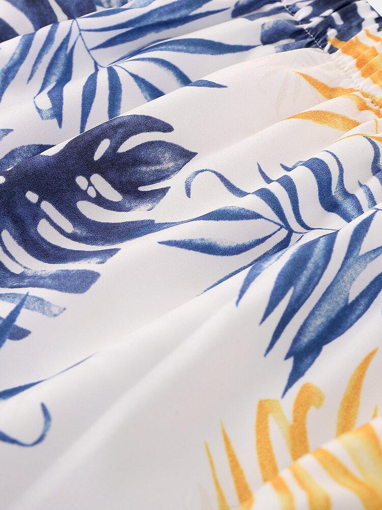 Mens Cartoon Fruit Print Revere Collar Short Casual Smoth Sleeve Pajama Set - 10