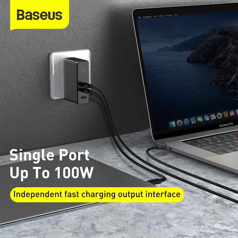 BlitzWolf® BW-S16 75W 6-Port USB PD Charger Desktop Charging Station AU Plug Adapter With Baseus 100W 5A Zinc Magnetic USB-C to USB-C PD3.0 Cable For iPhone 11 SE 2020 For iPad Pro 2020 MacBook Air 2020 For Samsung Galaxy S20 - 6