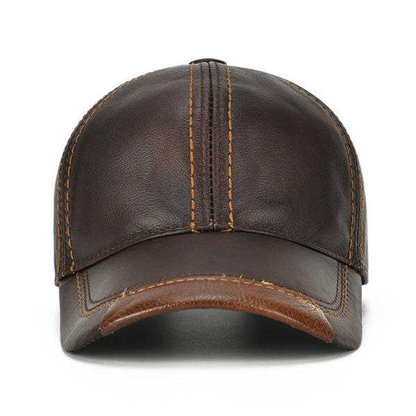 Men Vintage Genuine Leather Baseball Caps - 8