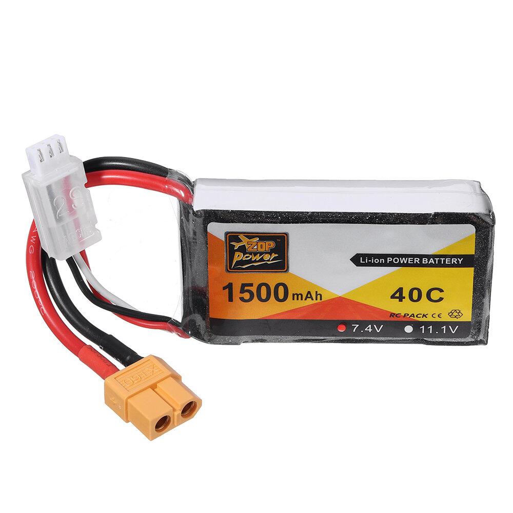 ZOP Power 7.4V 1500mAh 40C 2S Batterie Lipo Prise XT60 - 1