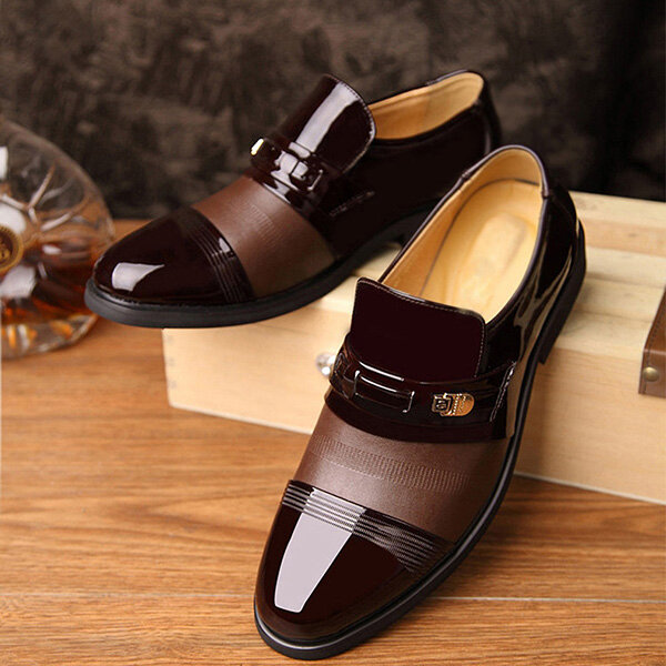 Men Genuine Leather Spicing Business Casual Soft Oxfords - 8