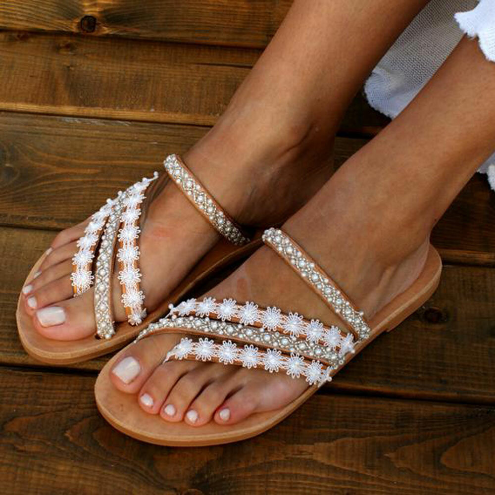 Women Large Size Braided Open Toe Summer Beach Flat Sandals - 3