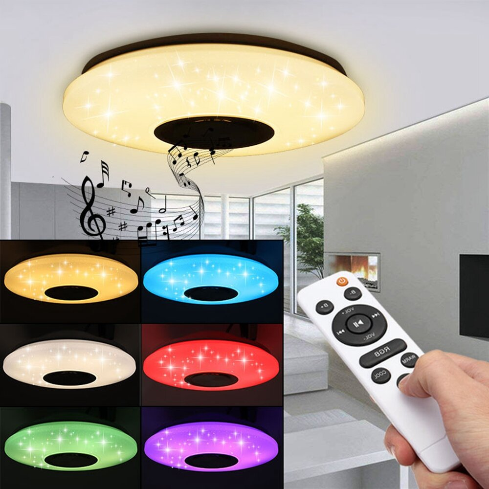 80W Modern Dimmable LED RGB Bluetooth Music Ceiling Light APP Remote Control - 1