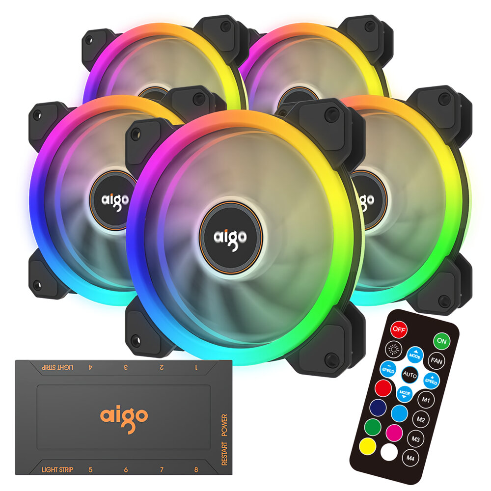 Coolmoon 5PCS 120mm RGB Adjustable LED Cooling Fan Multiple Thin Apertures CPU Cooling Fan with the Remote Control - 1