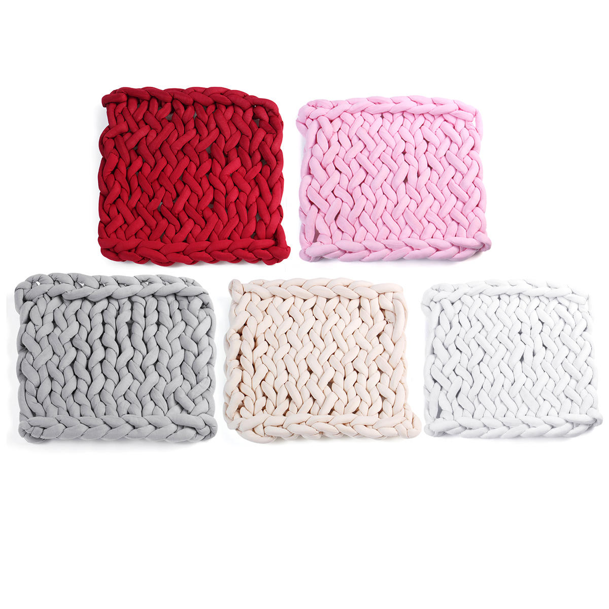 50 x 50cm Handmade Knitted Blanket Cotton Soft Washable Lint free Throw Multicolored Thick Thread Blankets - 1