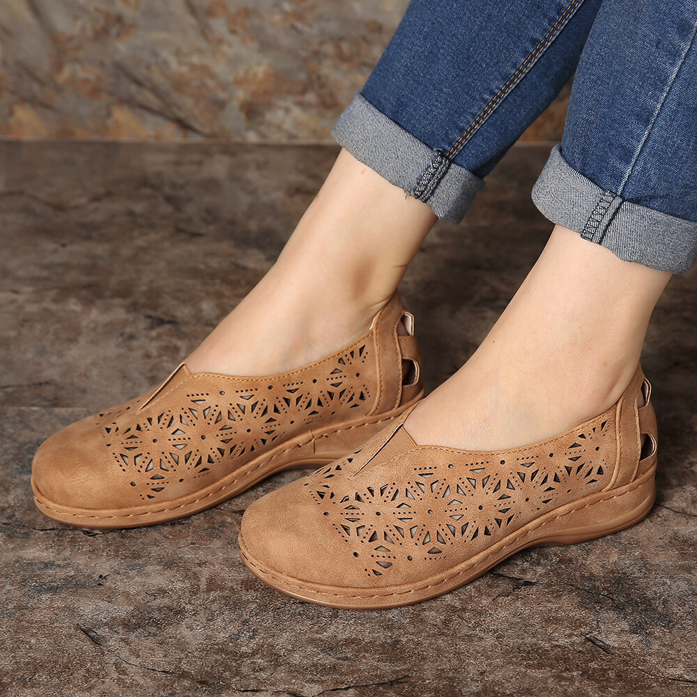 Women Casual Solid Color Round Toe Lace Up Loafers - 2