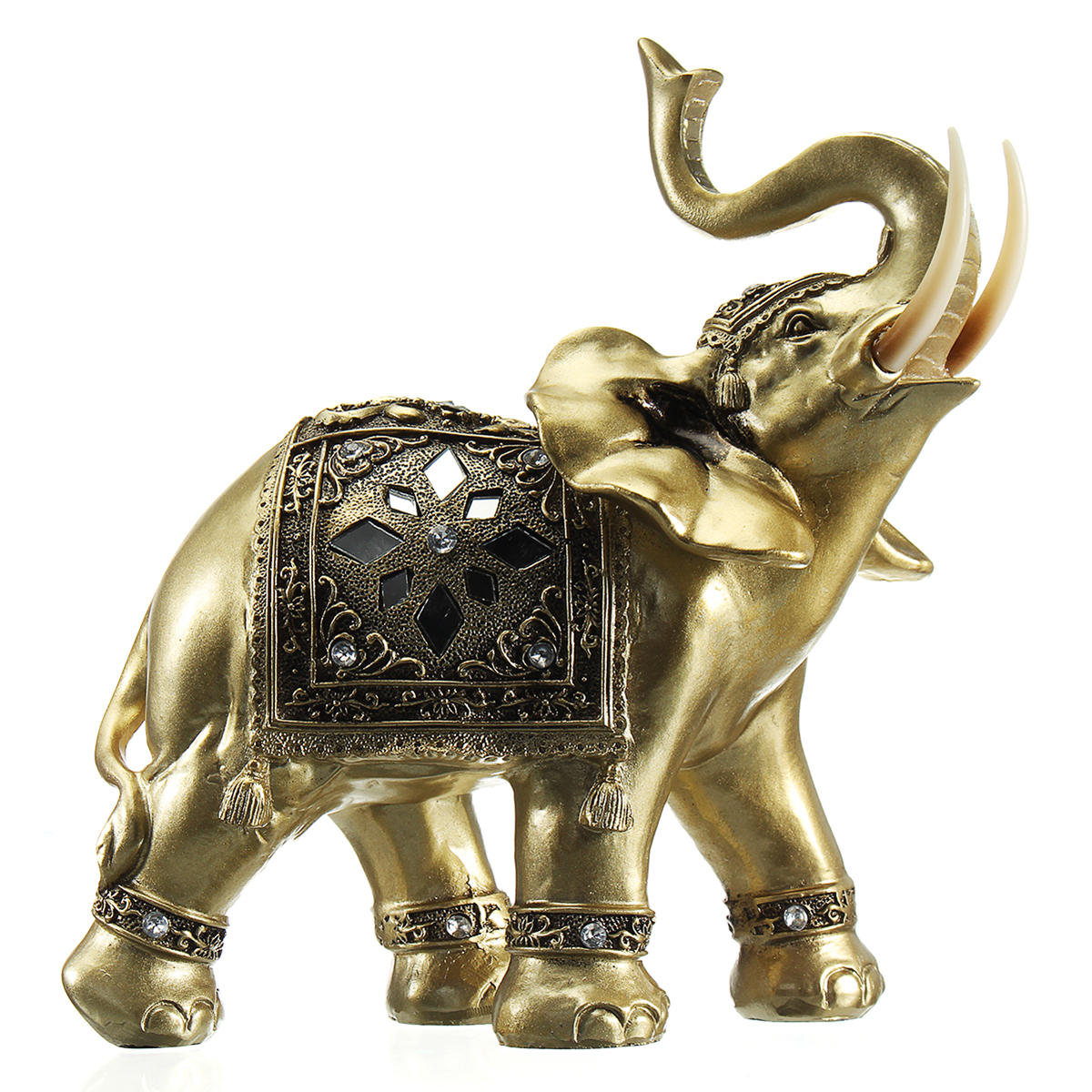 Lucky Charm Fengshui Mascot Golden Elephant Resin Mini Statue Home Desk Ornaments Gifts Home Decorations - 3
