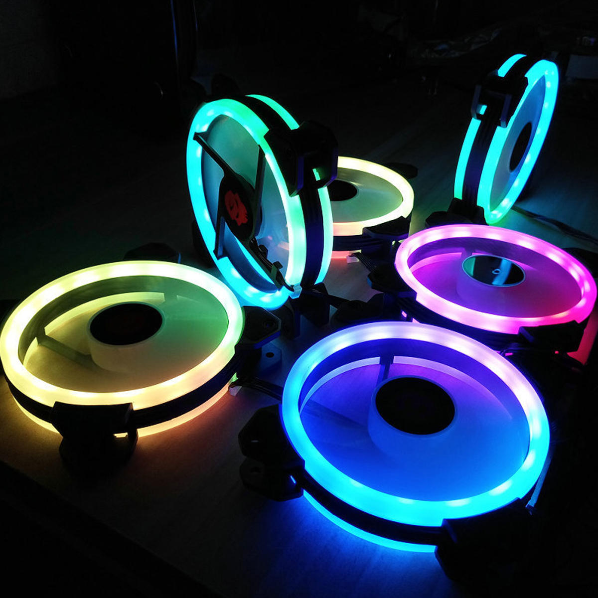 Coolmoon 6PCS 120mm RGB PC Fans 12 Monochromatic Light Adjustable CPU Cooling Fan With the Remote Control - 2