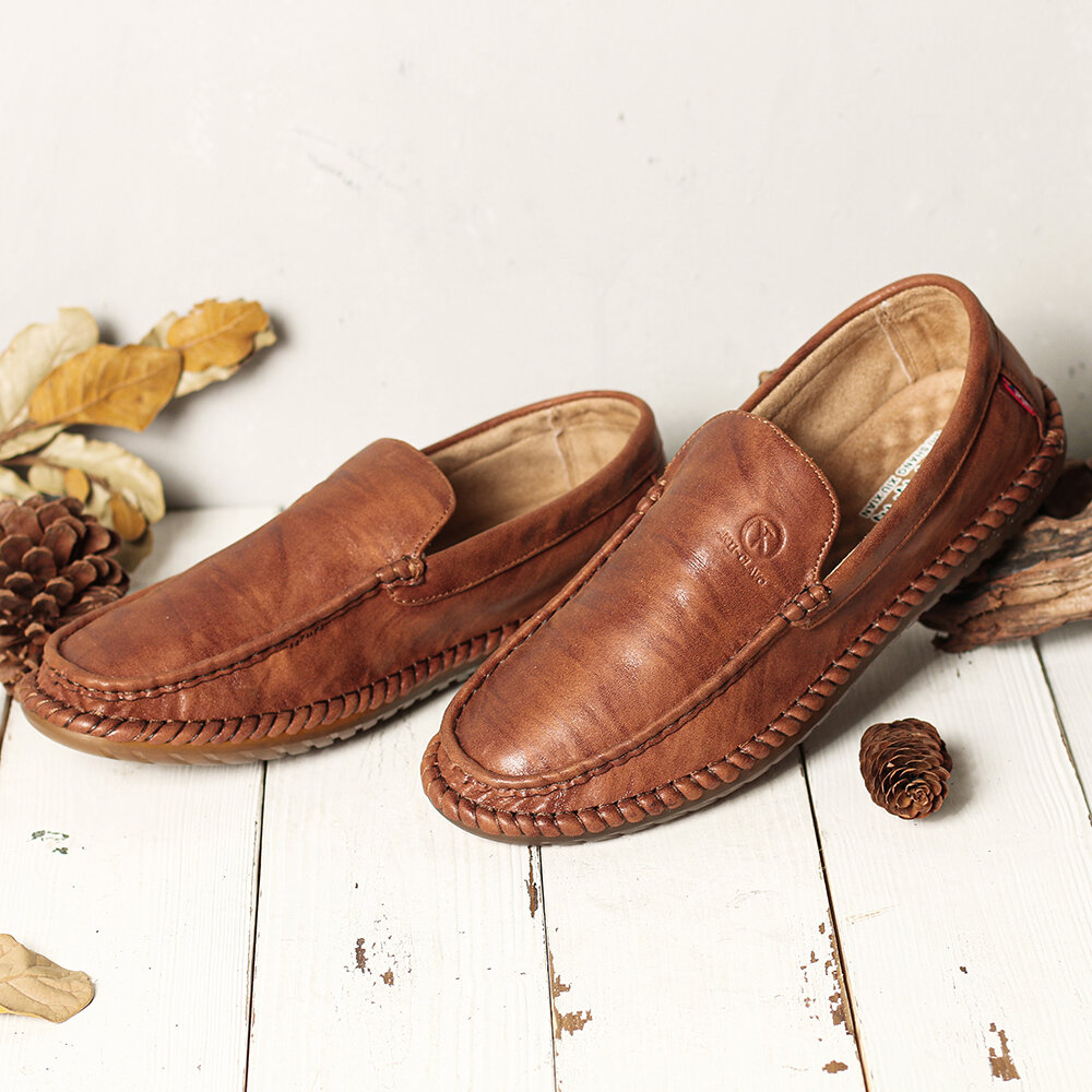 Men Pure Color Slip On Casual Soft Business Leather Oxfords - 3