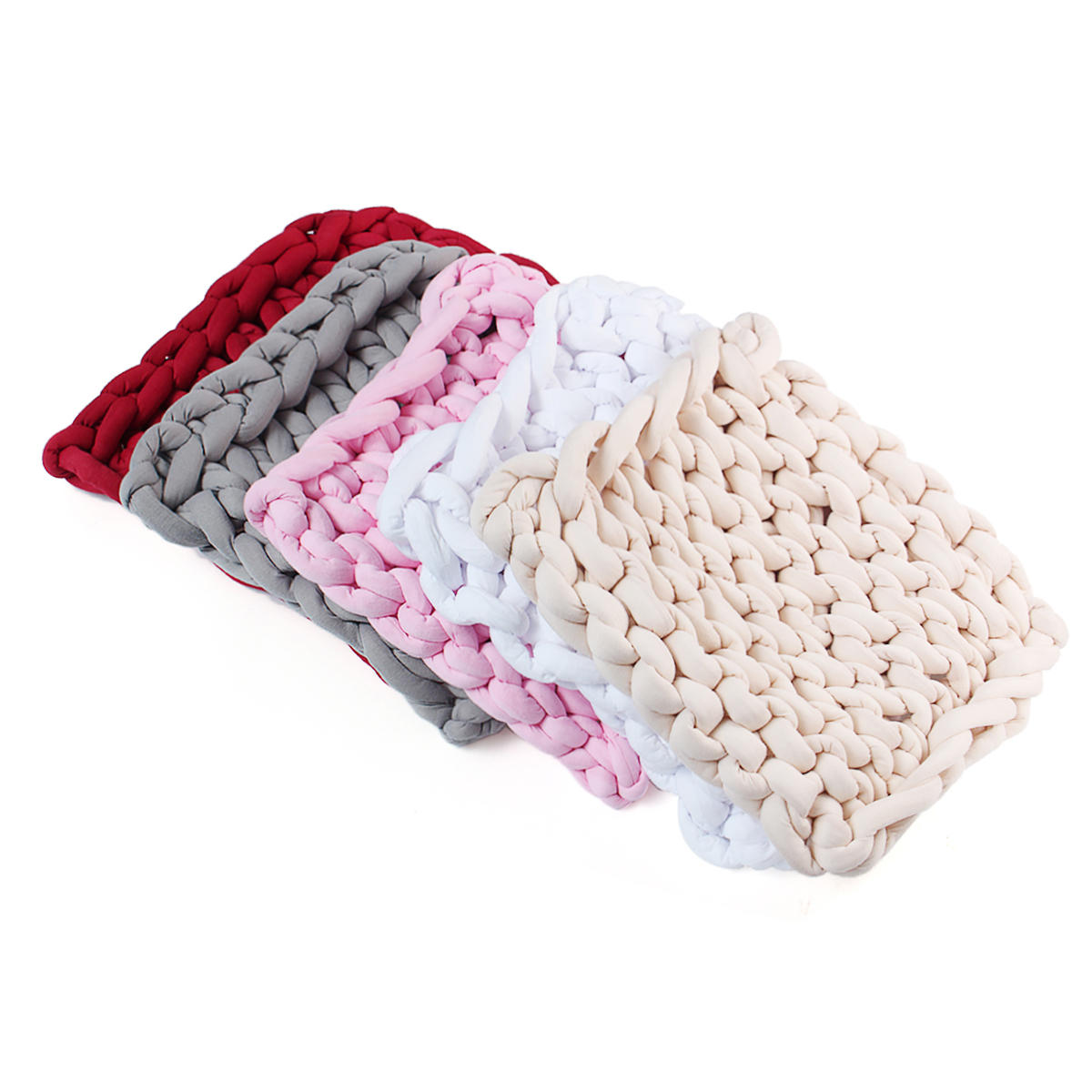 50 x 50cm Handmade Knitted Blanket Cotton Soft Washable Lint free Throw Multicolored Thick Thread Blankets - 2