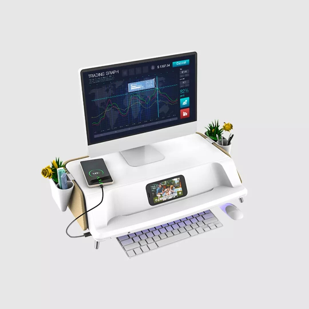 LD09 USB Dual Cooling Fans Laptop Desk Portable Folding Desk Bed Notebook Stand Study Table with Mouse Pad Cup Holder - 1