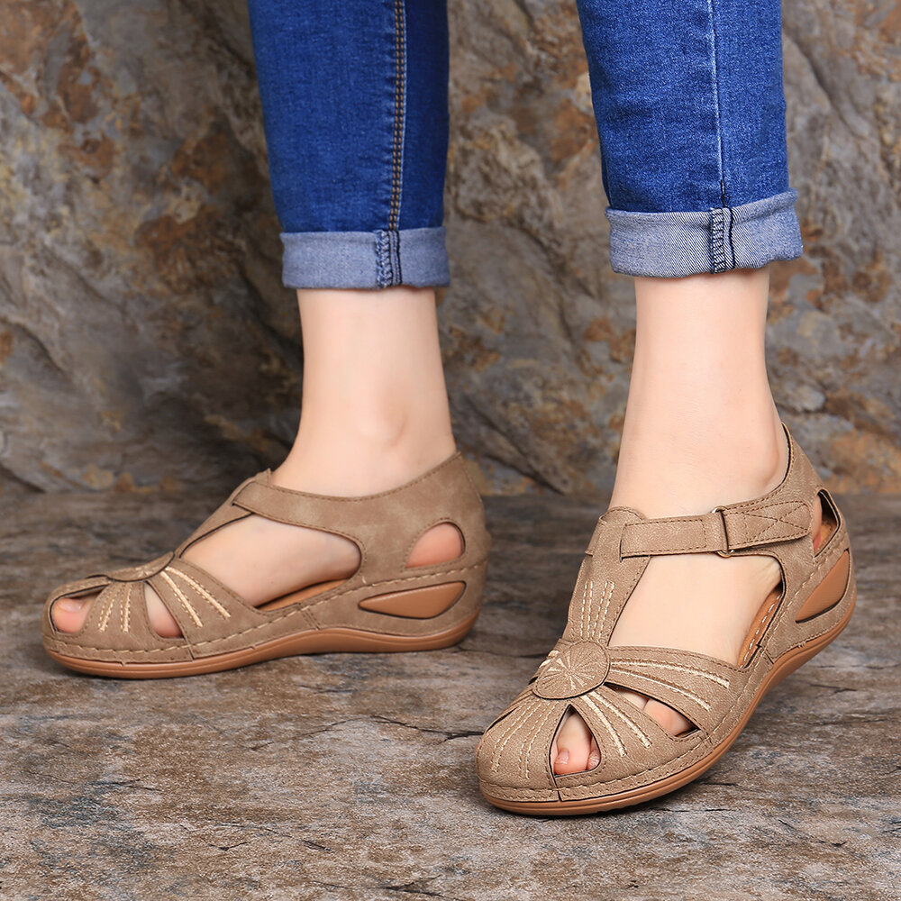 Lostisy Women Casual Bohemia Weave Stitching Buckle Flat Sandals - 9