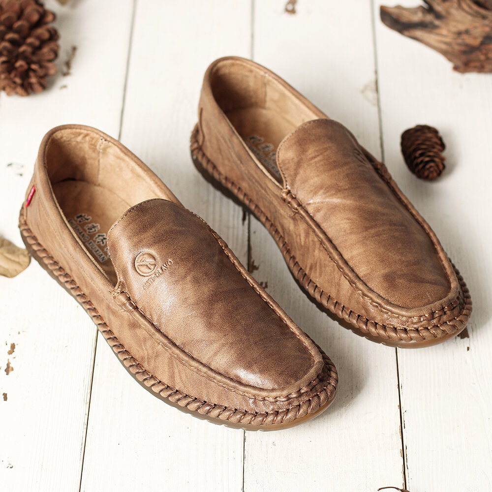 Men Pure Color Slip On Casual Soft Business Leather Oxfords - 8