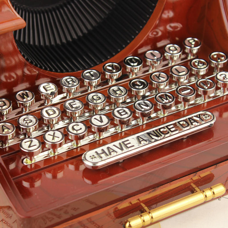 Vintage Typewriter Style Mechanical Music Box Jewelry Storage Box with Drawer Home Decoration Christmas Valentine's Day Gifts - 4