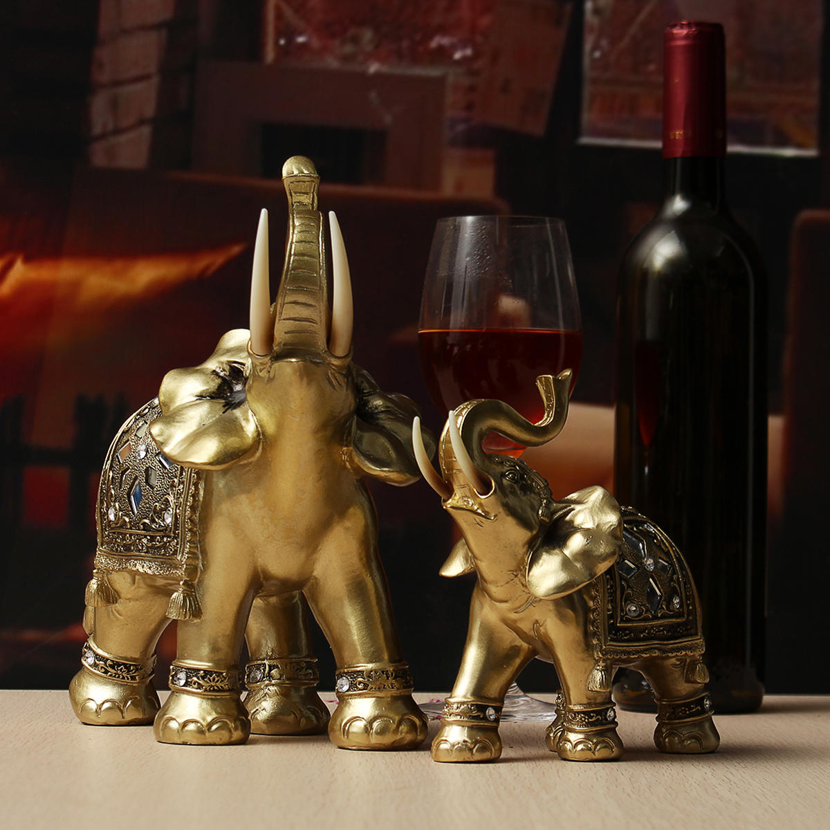 Lucky Charm Fengshui Mascot Golden Elephant Resin Mini Statue Home Desk Ornaments Gifts Home Decorations - 10