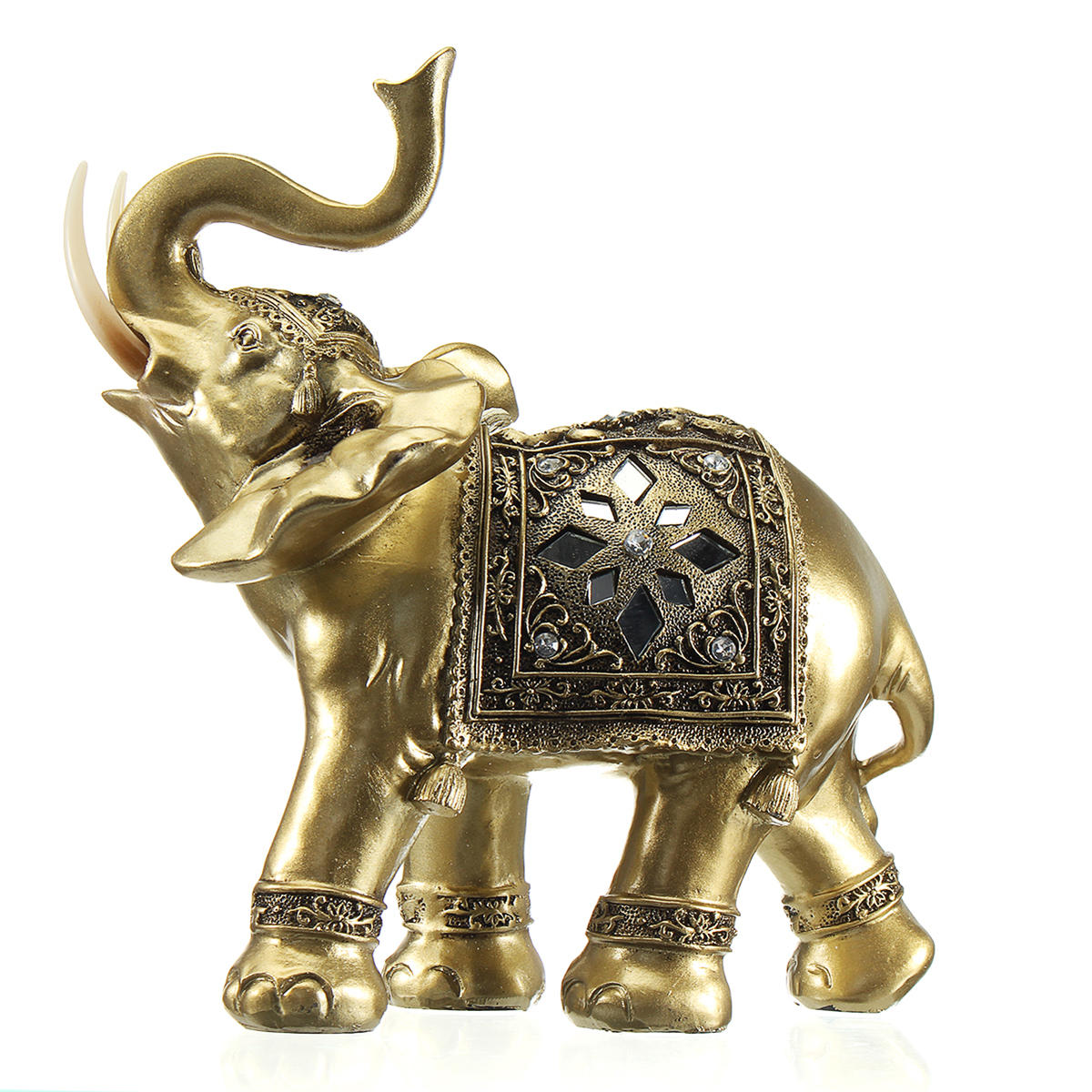 Lucky Charm Fengshui Mascot Golden Elephant Resin Mini Statue Home Desk Ornaments Gifts Home Decorations - 2