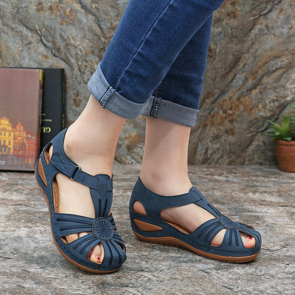 Lostisy Women Casual Bohemia Weave Stitching Buckle Flat Sandals - 7