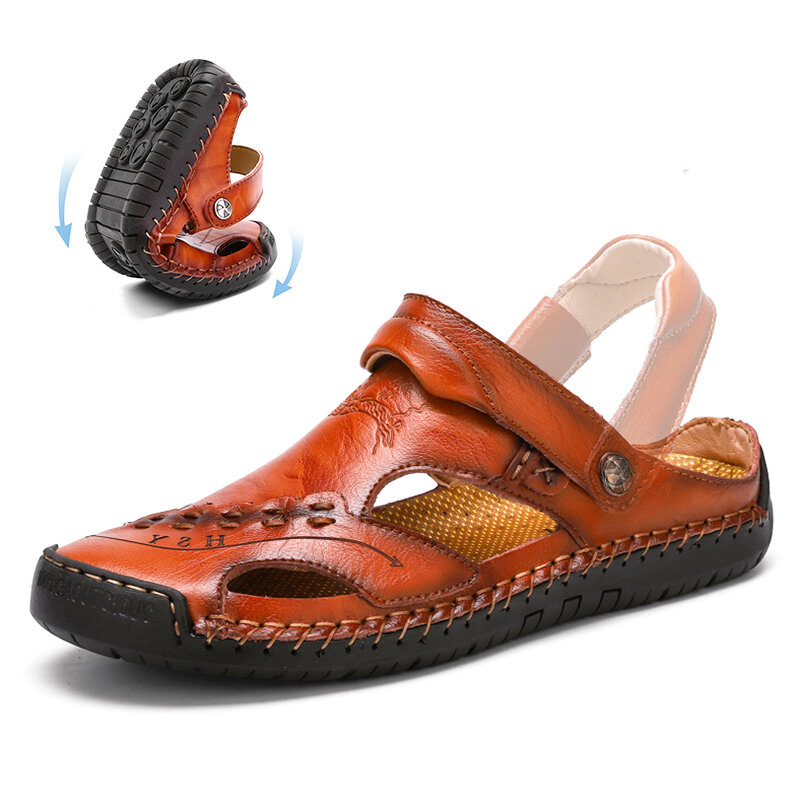 Cowhide Casual Soft Walking Sole Beach Leather Sandals - 2