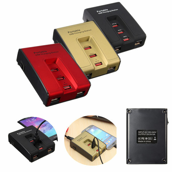 Portable 5 Ports USB Home Travel Charger AC Power Adapter