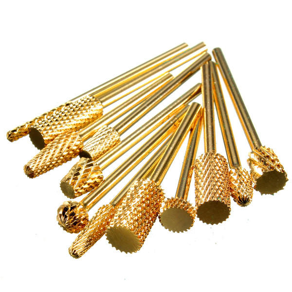 1Pcs Pro Gold Aluminium Electric Carbide Grinding Head Manicure Nail Drill File Bit