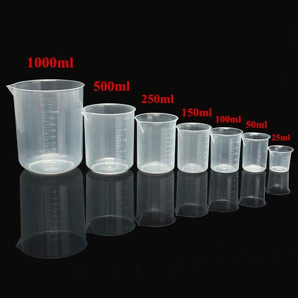 25mL To 1000mL Graduated Clear Plastic Beaker Volumetric Container For Laboratory