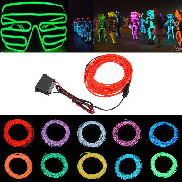 5M 12V Flexible Neon EL Wire Light Summer Dancing Party LED Strip Light