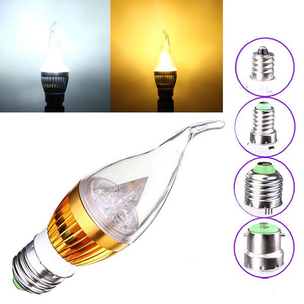 Dimmable E27 E14 E12 B22 4.5W 220V LED Chandelier Candle Light Bulb