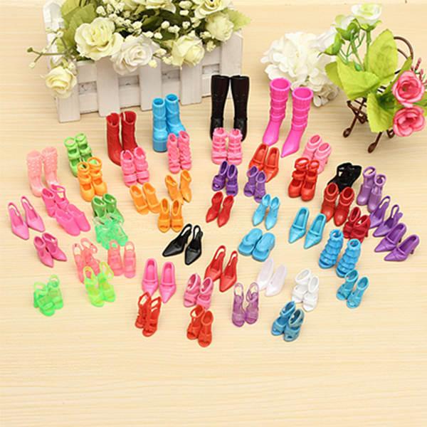 60 pares de moda múltiples estilos de tacones sandalias para muñecas barbie