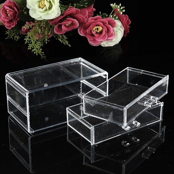 6 Drawer Clear Acrylic Make Up Organizer Drawers Cosmetic Display Holder Case Storage 2 Layer - 2