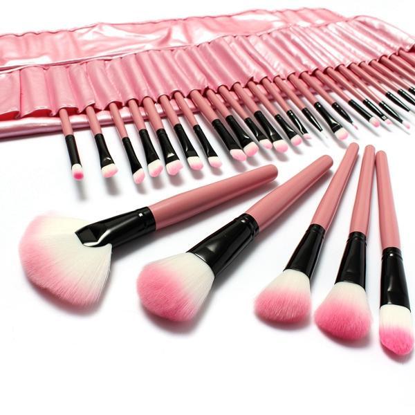 ac9cb7f39179 LuckyFine 32pcs Makeup Brushes Set Professional Cosmetic Brush Set Pink  Eyeshadow Eyebrow Blush