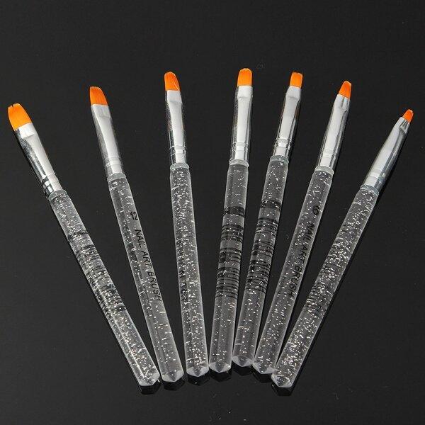 7pcs UV जेल एक्रिलिक क्रिस्टल नाखून डिजाइन बिल्डर पेंटिंग ब्रश पेन