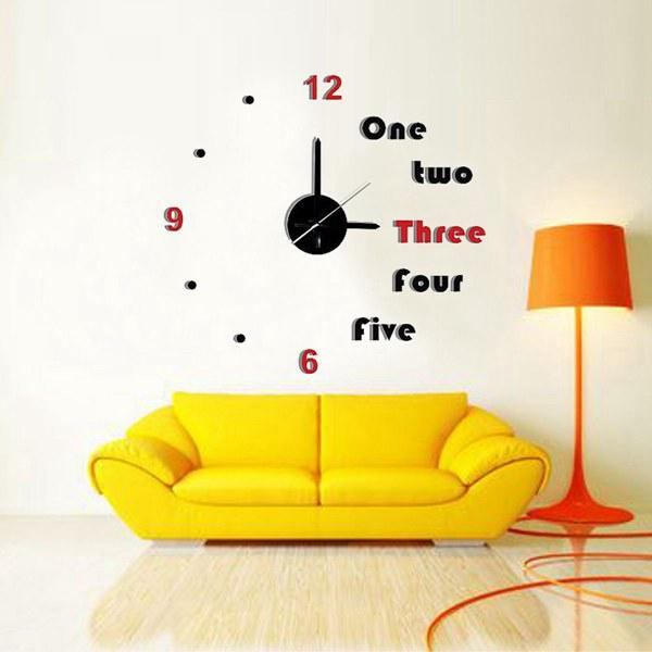 DIY Number and Alphabet 3D Wall Clock Home Office Art Decor Stickers
