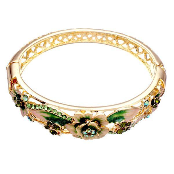 20ead23b5e3 Retro 18K Gold Plated Rhinestone Bracelets Elegant Butterfly Flowers Bangle  Bracelet For Women - Colorful COD