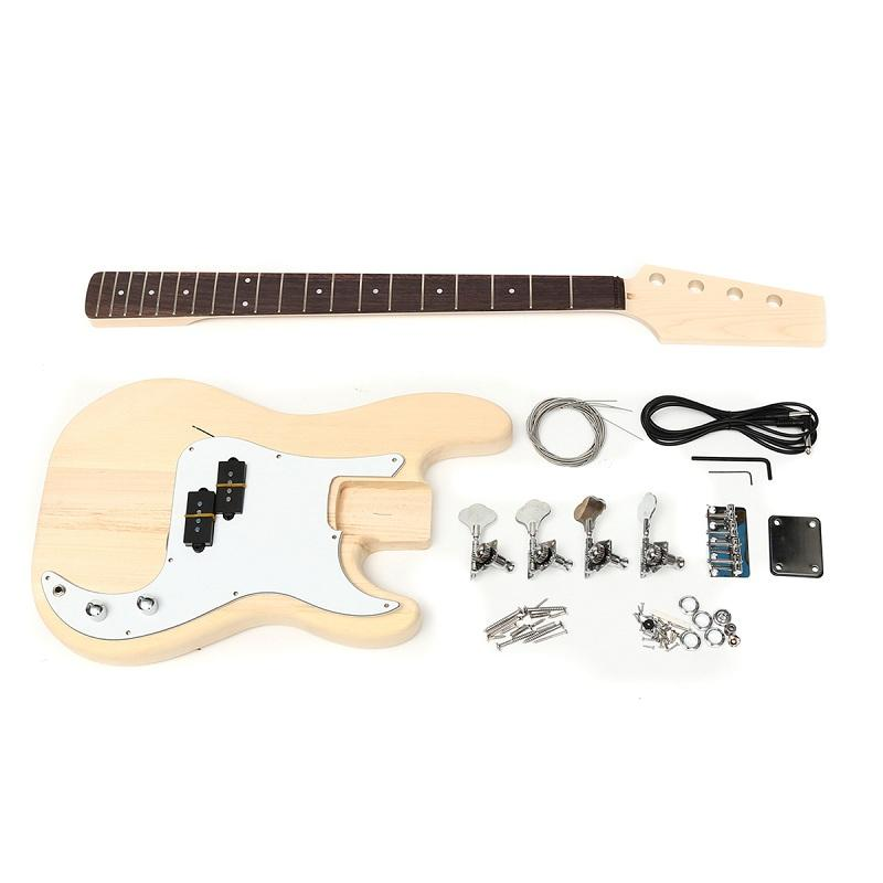 DIY Unfinished Electric Guitar Basswood Wood Body with Neck String - 2