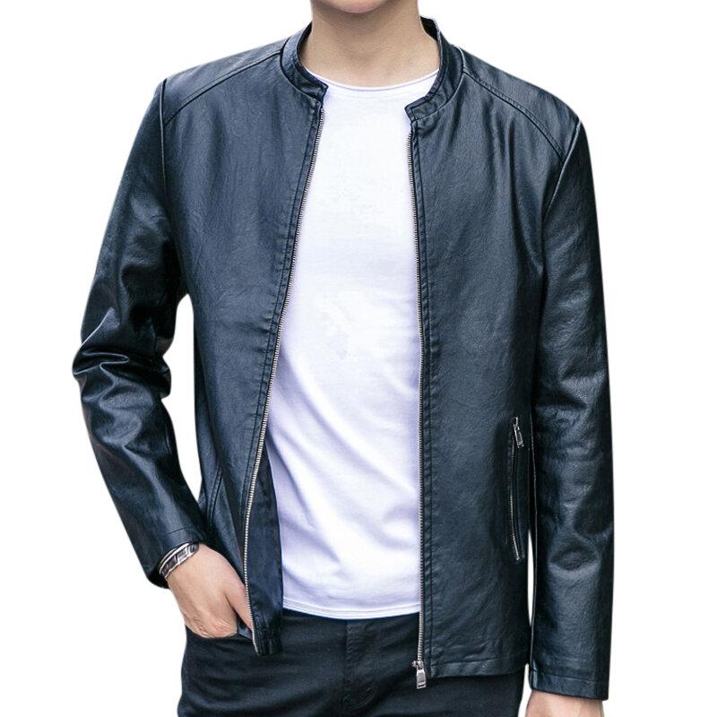 Mens Fashion PU Hooded Zipper Jacket Warm Thick Leather Coat - 1