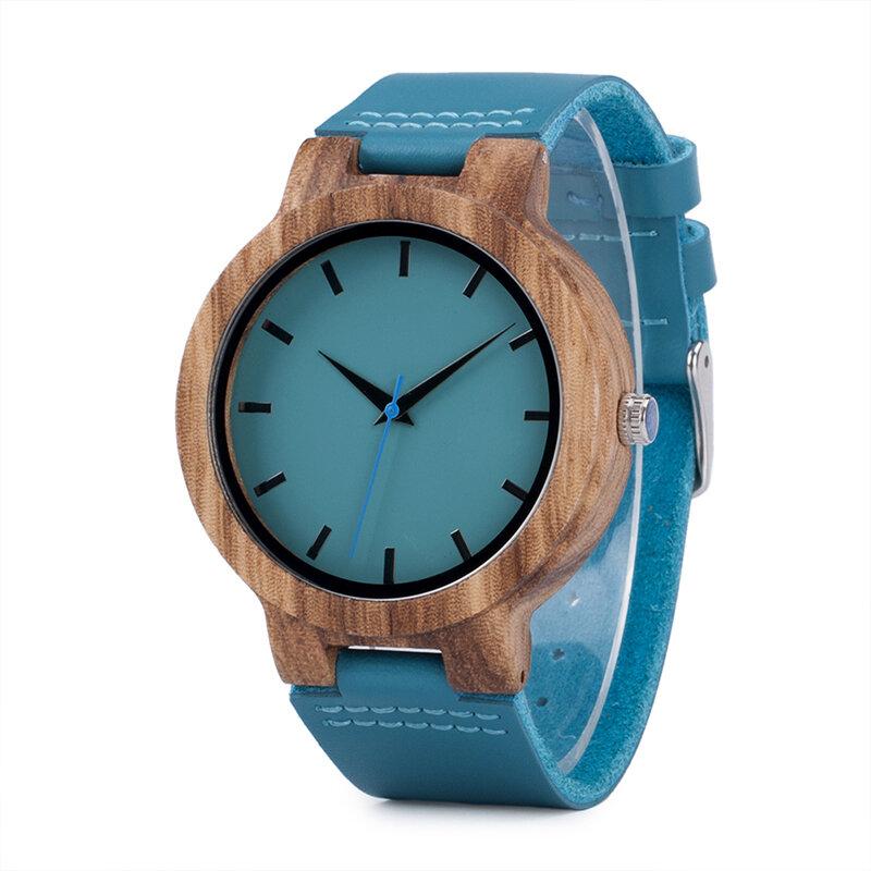 BOBO BIRD C28 आरामदायक शैली लकड़ी के घड़ी नीले असली चमड़े का पट्टा क्वार्ट्ज घड़ी