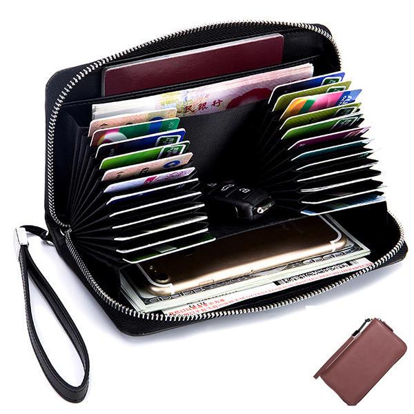 女性の男性24カードスロットカードホルダーコインバッグマルチカードビットジッパーウォレット財布