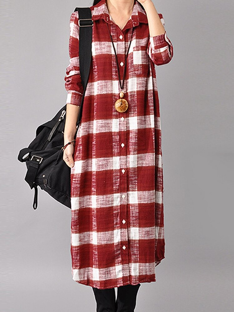 Kasual Wanita Lengan Panjang Button Down Plaid Shirt Dress