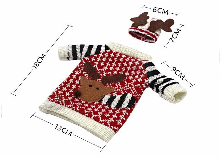 Red Wine Bottle Cover Bags Christmas Deer Dinner Table Decoration Home Party Decors - 3