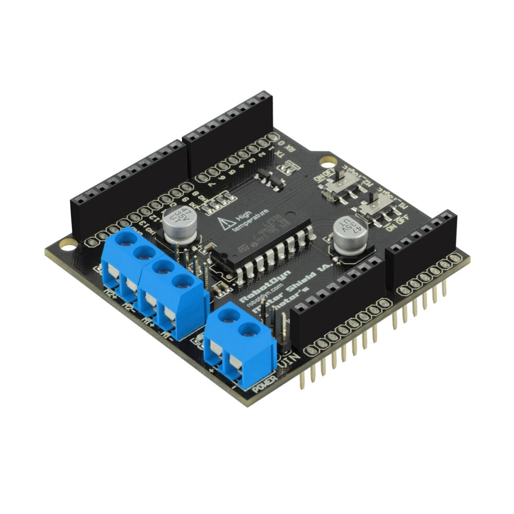 Motor Shield 1A L293B 2-motors Motor-driven Expansion Board RobotDyn for Arduino - products that work with official Ardu